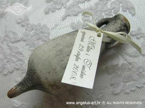 amfora sivo srebrna za vjenčanje s mašnicom i kartončićem