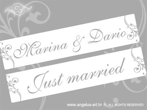 auto tablice za vjencanje s imenima mladenaca srebrne