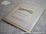 bež bijela pozivnica za vjenčanje s perlicama i tiskom
