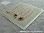 bež crvena pozivnica za vjenčanje s perlicama na zlatnom konopcu