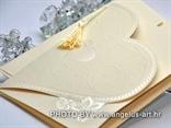 bež pozivnica za vjenčanje srce s 3D uzorkom