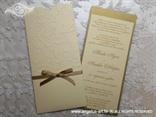 bež zlatna pozivnica za vjenčanje s mašnicom i blindruckom