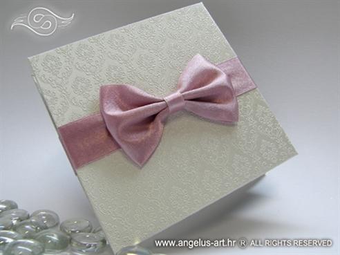 bijela ekskluzivna zahvalnica za vjencanje s rozom msanom