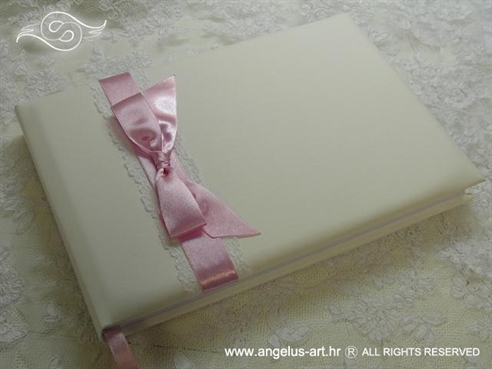 wedding guestbook with lace and pink satin bow