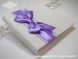 bijela knjiga za prstenje s ljubičastom mašnom i lila organdij trakom