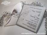 bijela pozivnica sa srebrnom satenskom mašnom i cirkonima
