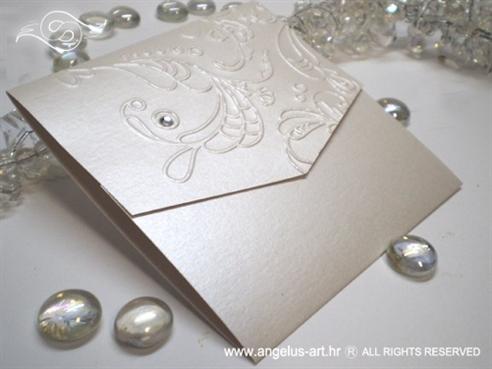 bijela pozivnica za vjenčanje s 3D uzorkom i cirkonom