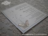 bijela pozivnica za vjenčanje s cirkonima satenskom mašnom i leptirom