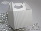 Bijela rebrasta kutija za kolače manja