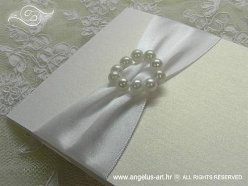bijela zahvalnica s perlicama i bijelom satenskom trakom