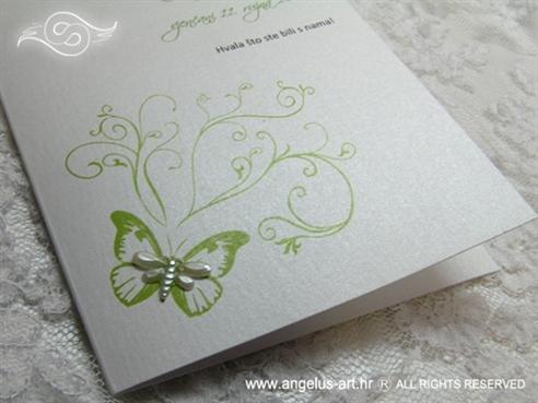bijela zahvalnica za vjenčanje sa zelenim tiskom leptira