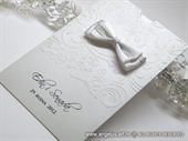 Wedding Thank You Card - White and Silver Charm