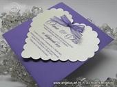 Pozivnica za vjenčanje - Purple Heart Shape
