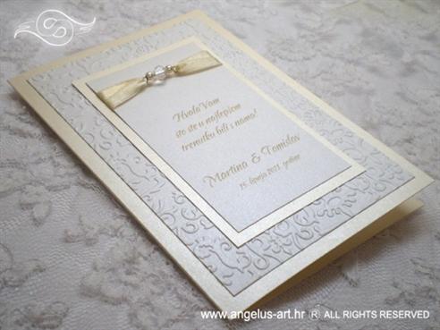bijelo krem zahvalnica za vjenčanje s 3D tiskom i perlicama