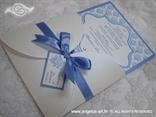 bijelo plava pozivnica zimska ili morska s plavim uzorkom