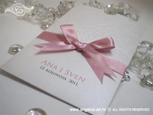 bijelo roza zahvalnica za vjenčanje s blindruckom čipke i mašnom