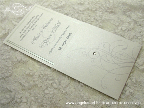 bijelo srebrna pozivnica s cirkonom