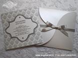 bijelo srebrna pozivnica za vjenčanje sa satenskom trakom