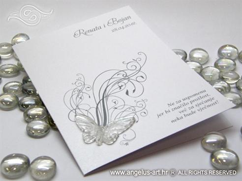 bijelo srebrna zahvalnica za vjenčanje s leptirom i tiskom