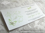bijelo zelena pozivnica sa zelenim tiskom i leptirom