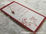 bordo bijela pozivnica za vjenčanje s bordo tiskom i perlicama