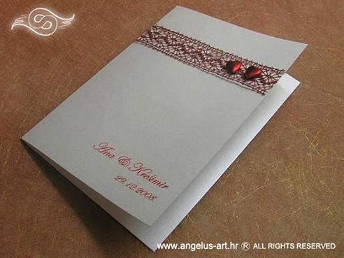bordo crvena zahvalnica za vjenčanje sa dva srca