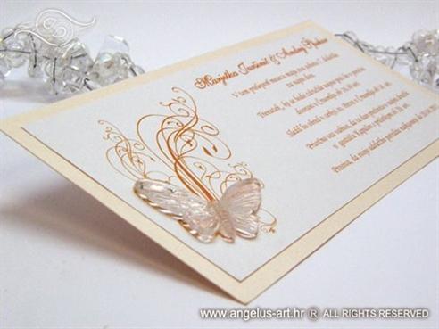 breskva narančasta pozivnica za vjenčanje s leptirom