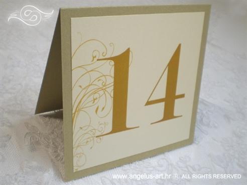 broj stola za vjenčanje krem šampanj zlatni