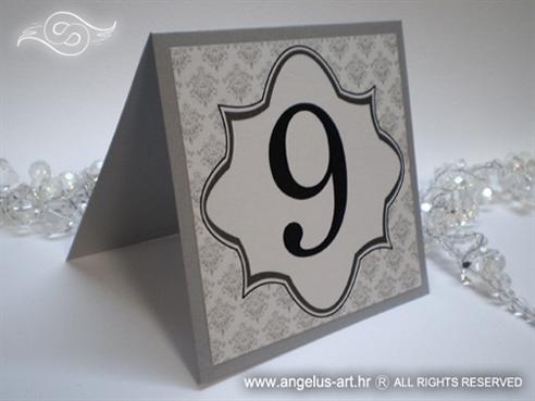 broj stola za vjenčanje srebrni s damask uzorkom