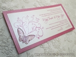 ciklama pozivnica za vjenčanje s prozirnim leptirom