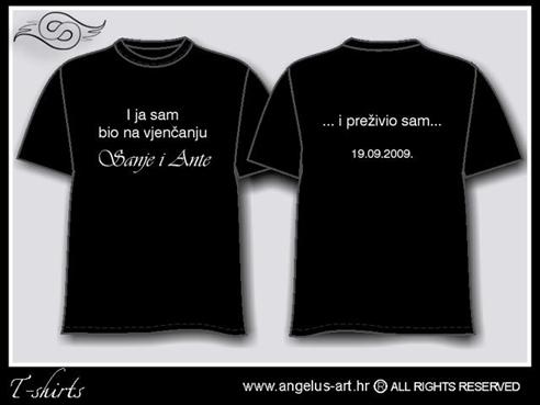 crna majica sa šaljivim tekstom za vjenčanje