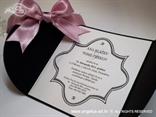 crna pozivnica s rozom mašnom cirkonima i tiskom