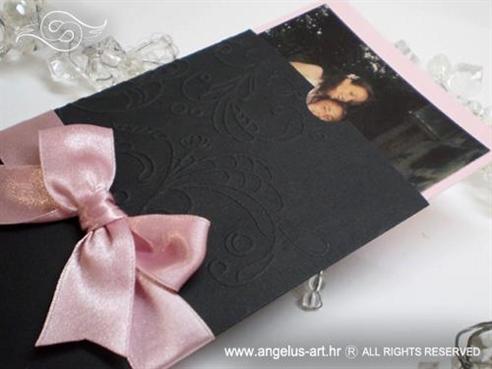 crna zahvalnica za vjenčanje s rozom mašnom i 3D reljefnim tiskom