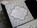 crno bijela pozivnica za vjenčanje s cirkonima i tiskom