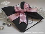crno roza pozivnica s mašnom i cirkonima