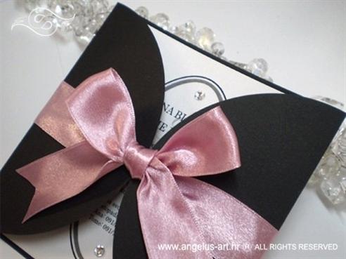 crno roza pozivnica za vjenčanje sa satenskom mašnom