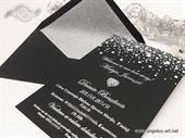 Pozivnica za vjenčanje - Black Silver Heart Line