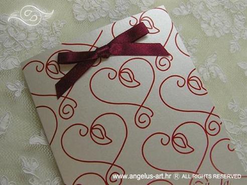 crvena zahvalnica za vjenčanje sa crvenim srcem