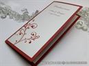 Crveni jelovnik za svadbenu svečanost s ornamentom