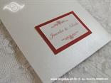 detalj s pozivnice crveno bijela s imenima mladenaca