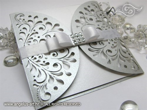 ekskluzivna srebrna pozivnica za vjencanje 5151