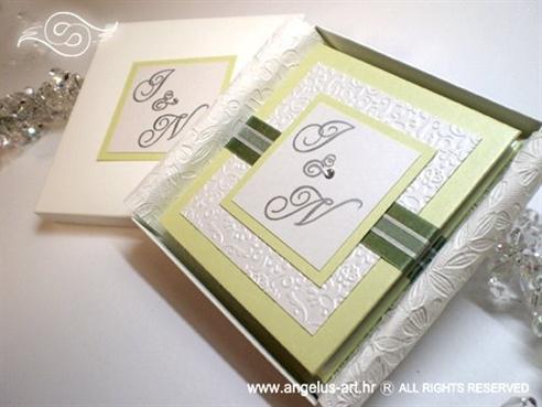 ekskluzivna zelena zahvalnica za vjenčanje s 3D ekektom i cirkonom