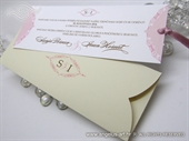 Wedding invitation - Cream Pink Bookmark