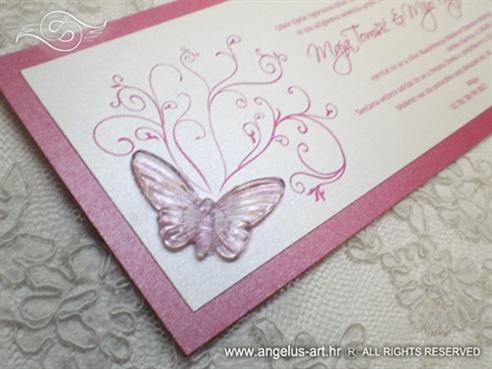 fuksija pozivnica za vjenčanje s leptirom