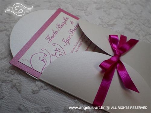 fuksija pozivnica za vjenčanje sa satenskom mašnom