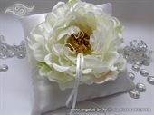 White Flower Ring Bearer Pillow