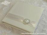 jastučić za prstenje bijeli s brošem u obliku srca