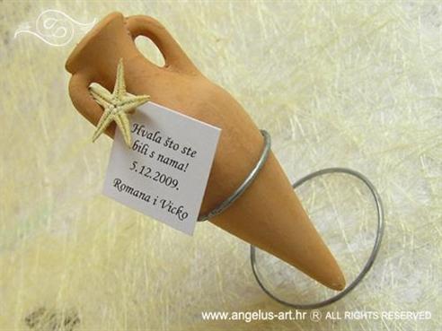 keramika amfora za vjenčanje s morskom zvijezdom i stalkom