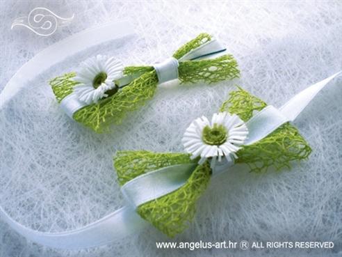 kitica i narukvica za vjenčanje sa zelenom mrežom i margaretom