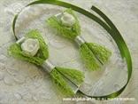 kitica i narukvica za vjenčanje zelena mreža sa satenskom trakom